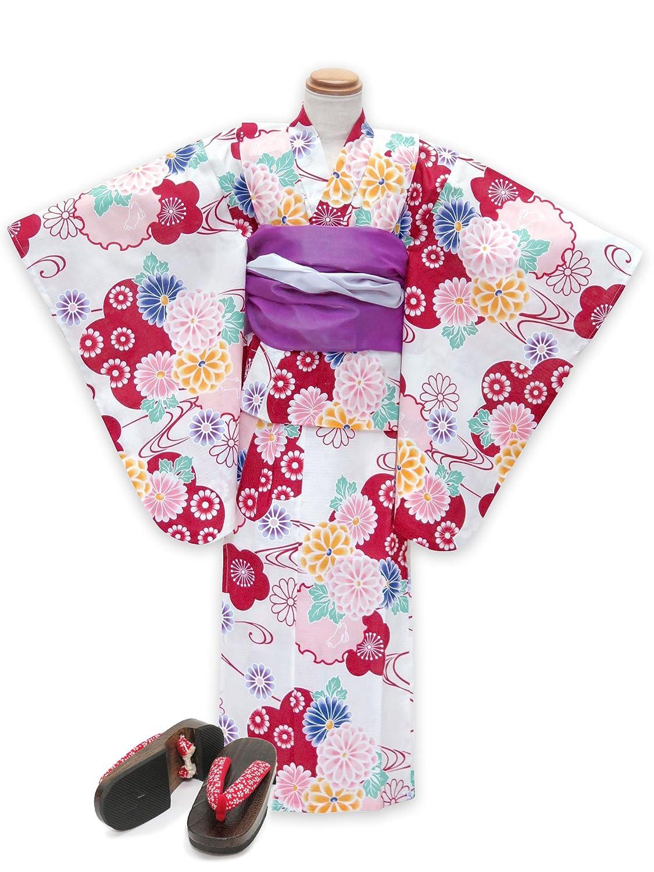 浴衣 こども 女の子 セット 古典柄の女の子浴衣 兵児帯 下駄 3点セット 100「生成り 赤系菊と雪輪」OCN10-7A-Mset