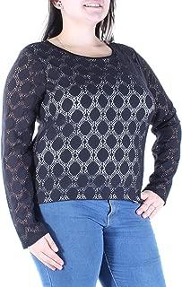 Vince Camuto Dot Lace Crewneck Top Size Large Black