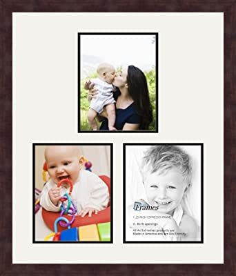 Art to Frames Double-Multimat-172-756//89-FRBW26061 Collage Frame Photo Mat Double Mat with 3-8x10 Openings and Espresso Frame