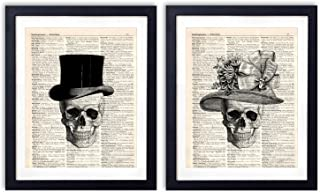 akeke Skull Decor Vintage Dictionary Art Print Two Set – Skull Decorations..