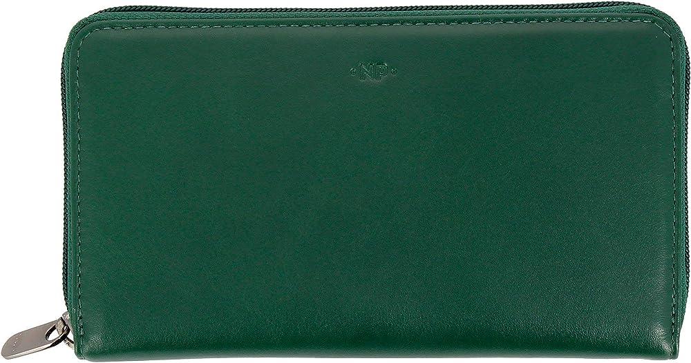 Nuvola pelle, portafoglio, porta carte di credito da donna grande, in vera pelle, multi tasche verde 8031847166576