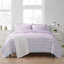 Sweet Home Collection Quilt Sets Prewashed Checkered Plaid Embroidered Vintage Soft and Luxurious Bedding with Pillow Sham...