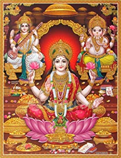 by zolto posters ,Shri Lakshmi/Laxmiji/Goddess of Wealth with Ganesha/Ganpati and Saraswati/Ganesh-Laxmi-Saraswathi Poster 12x18