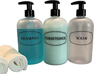 Bottiful Home-Shampoo, Conditioner and Shower Soap Dispensers-16 oz Empty PET Plastic Pump Bottles-Refillable Shower Containers-Frosted Clear-Black Print-Waterproof, Rust-Free, Clog-Free, Drip-Free
