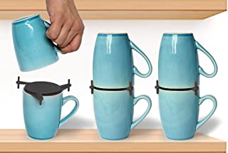 ELYPRO Coffee Mug Organizers and Storage, Kitchen Cabinet Shelf Organizer - Cupboard and Pantry Organization, Expandable Stackable Gadget for Tea Cup and Coffee Mugs, Save Space, Organize, 6pk, Black