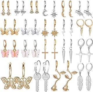 20 Pairs Drop Dangle Earrings Set, Funtopia Fashion Jewelry Huggie Hoop Earrings for Women Girls (Gold & Sliver)