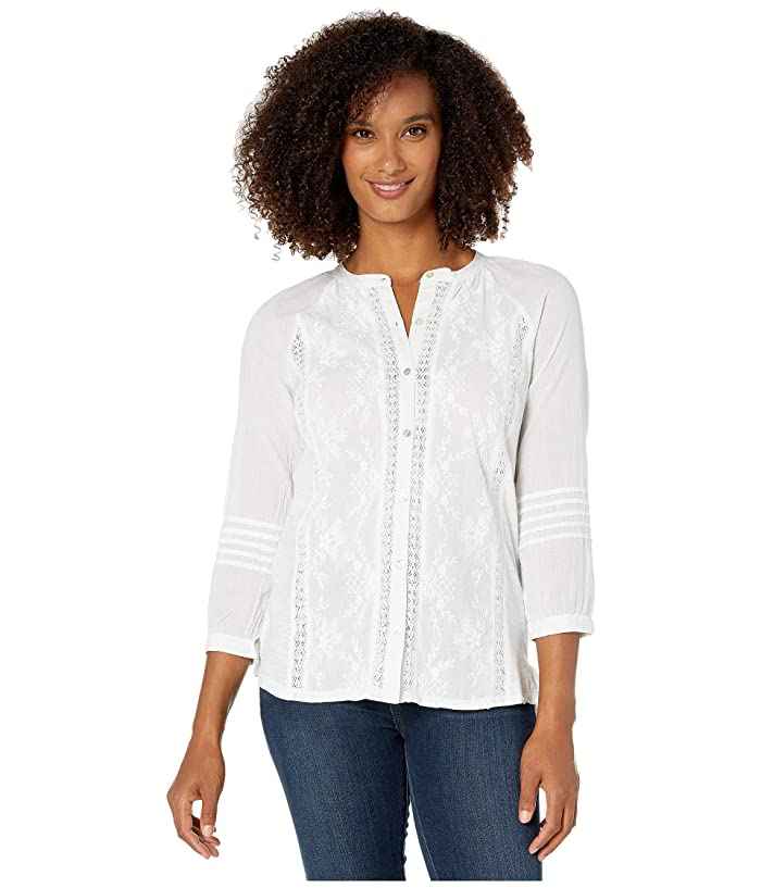 Lucky Brand  Embroidered 3/4 Sleeve Shirt (Bright White) Womens Clothing