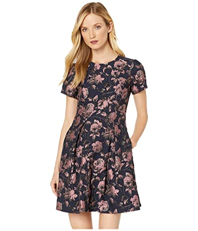 Vince Camuto Jacquard Short Sleeve Fit-and-Flare Dress (Pink Multi) Women