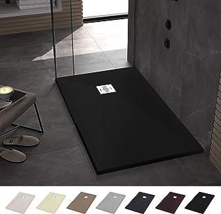 Crocket Plato de Ducha de Resina 80 x 100 Ebro - Textura Pizarra y Antideslizante - Acabado Brillo - Todas Las Medidas Disponibles - Incluye Sifón y Rejilla - Negro RAL 9005