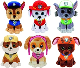 Ty Paw Patrol Beanie Babies - Juego de 6 peluches Marshall, Chase, Skye, Rocky, Rubble y Zuma