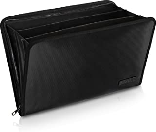 Expanding File Folder Important Document Organizer Fireproof and Waterproof Document Bag with A4 Size 3 Pockets Zipper Closure Non-Itchy Silicone Coated Portable Filing Wallet Pouch(14.3