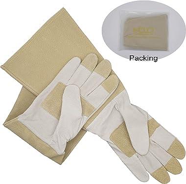 Bundle - 2 Pairs: Rose Pruning Long Gardening Gloves, Ladies Thorn Proof Gauntlet Cowhide Leather Gloves - Beige, Green, Medi