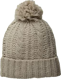 Soft Cable Beanie with Knit Pom