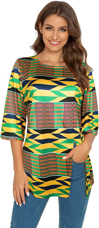 Afibi Womens Print Shirt African Dashiki 3/4 Sleeve Boho Loose Tunic Tops