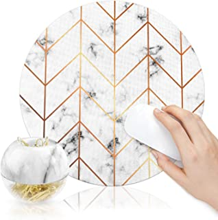 """100Pcs Gold Paper Clips in Marble White Dispensers Magnetic Paper Clips Holder 28mm(1.1""""), Round Mouse Pad Office Accessor..."""