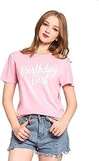 Womens Cotton Short Sleeve Cute Birthday Girl Tshirts Top Tees(MXT01)