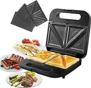 Gotoll Sandwichera 3 en 1 Eléctrica, Gofrera y Grill Plancha con Placas Desmontables Antiadherentes e Intercambiables, Asa...