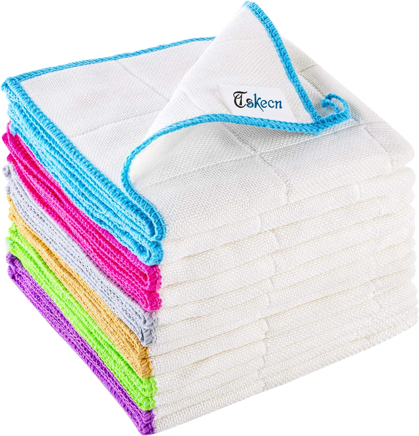 """12 Pcs Bamboo Fiber Cleaning Cloth, Strong Absorbent Soft Kitchen Towels with Hanging Loop, Dishcloths Tea Towel,for House, Kitchen, Car, Window, (12"""" x 12"""")"""
