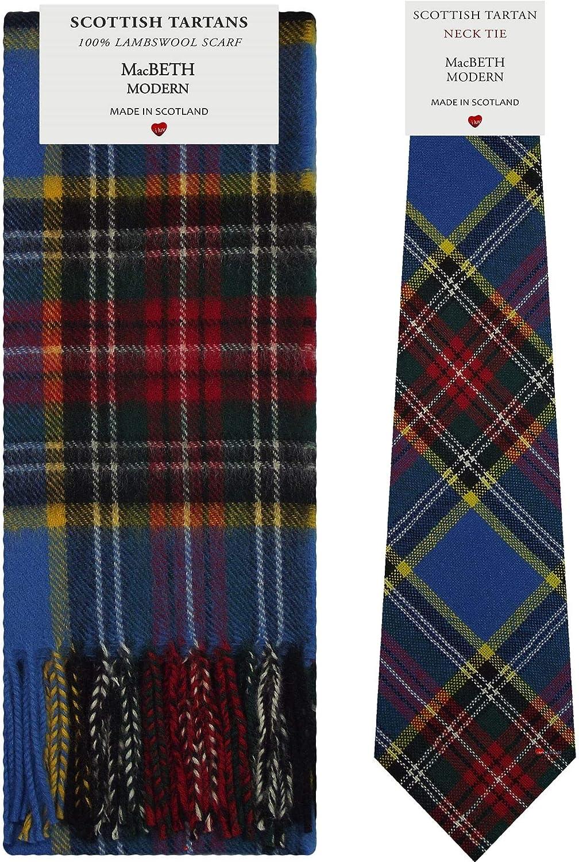 MacBeth Modern Tartan Plaid 100% Lambswool Scarf & Tie Gift Set