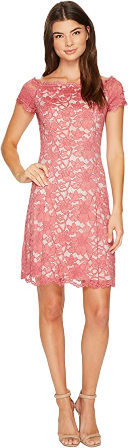 Adrianna Papell Lace Off Shoulder Fit and Flare Dress