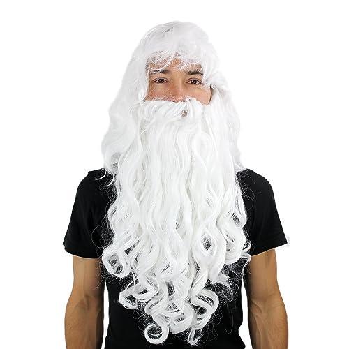 Party Fancy Dress Halloween LONG Beard   WIG set WHITE curly WIZARD  SORCERER SANTA e6488abfb3