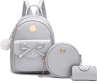 Rucksack mit Schleife, 3-teilig, Leder, Rucksack für Damen, Rucksack für Damen