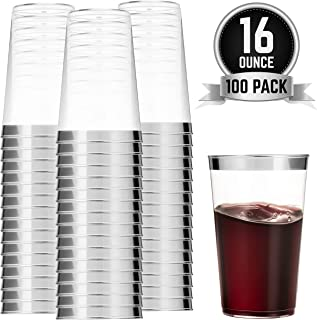 100 Silver Plastic Cups 16 Oz Clear Plastic Cups Tumblers Silver Rimmed Cups Fancy Disposable Wedding Cups Elegant Party Cups with Silver Rim