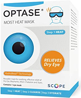 Optase Moist Heat Eye Mask - Washable and Reusable Eye Mask - HydroBead Technology for Dry Eye Relief