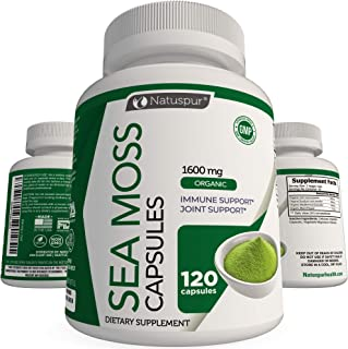 Irish Sea Moss 1600mg Organic Supplement with Bladderwrack and Burdock Root with Black Pepper for - Joint, Digestive Healt...