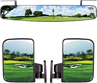10L0L Newest Golf Cart Folding Side Mirrors and Rear View Mirror 16.5