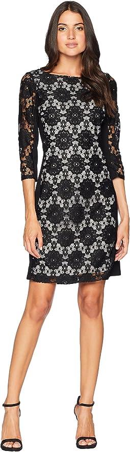 Lace Ponte Combo Dress