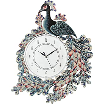CAPIO ART Wooden Handpainted Peacock Wall Clock for Home Study Living Room and Office (White)