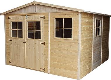 TIMBELA Abri de Jardin en Bois Naturel - Stockage extérieur avec fenêtres- H226x316x324 cm/9 m² Hangar en Bois Naturel - Atel