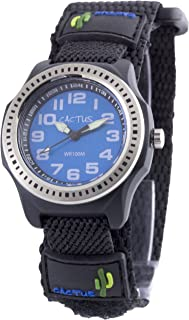 Cactus Childrens Quartz Watch with Blue Dial Analogue Display and Black Fabric and Canvas Strap CAC
