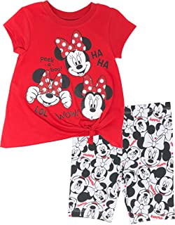 ff3f0c77c09bf Disney Minnie Mouse Baby Infant Toddler Girls' T-Shirt & Bike Shorts Set