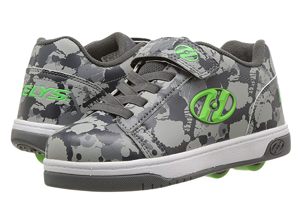 Heelys Dual Up x2 (Little Kid/Big Kid) (Charcoal/Grey/Bright Green Splatter) Boys Shoes