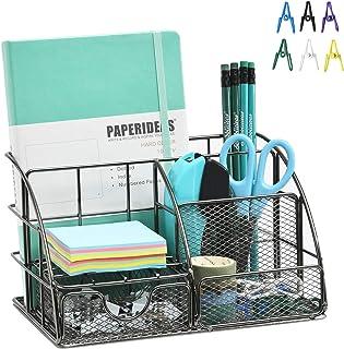 Marbrasse Desk Organizer, All in One Metal Office Supplies Desk Organizer Caddy with Drawer, for Office, school, Home (Bri...