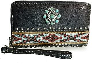Embroidered Aztec Wristlet Wallet w/TQ Concho- Black