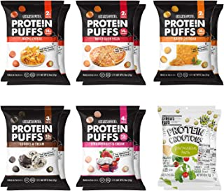 SHREWD FOOD Protein Puffs, Low-Carb, Keto-Friendly Snacks, Gluten-Free, Soy-Free, Peanut-Free, Six Delicious Crunchy Flavo...