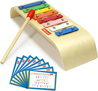 Kidzlane My First Xylophone for Kids   8 Song Learning Cards, Rubber Tip Mallet, Wooden Base