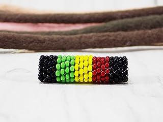 Handmade Rasta dread beads for dreadlock jewellery for girls with hairstyles Jamaica hair braid cuff Rastafarian accessory