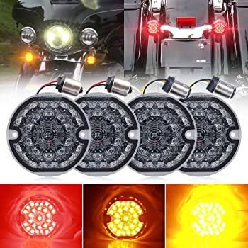 3-1/4 Inch LED Turn Signal Kit Flat Smoke Lens 1157 Double Base Amber Front Turn Signal Bulbs + 1156 Single Connector Red Rear Turn Signal Lights Compatible with Harley Motorcycle Road Glide Road King