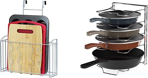 lowest SimpleHouseware Over the Cabinet Door high quality Organizer Holder + 5 Adjustable Compartments Pan and Pot Lid 2021 Organizer sale