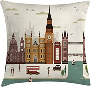 Ambesonne London Throw Pillow Cushion Cover, Travel Scenery Famous City England Big Ben Telephone Booth Westminster, Decorative Square Accent Pillow Case, 18
