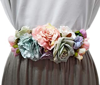 8eea7d96603 BRANDELIA Cinturones de Flores para Vestidos de Fiesta Mujer Cinturones  Elásticos Mujer con Flores Artificiales,