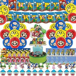 Mario BrosTheme Birthday Party SuppliesIncludes Happy Birthday Banner Cake Topper 12 Cupcake Toppers 18 Balloons 10 Invita...