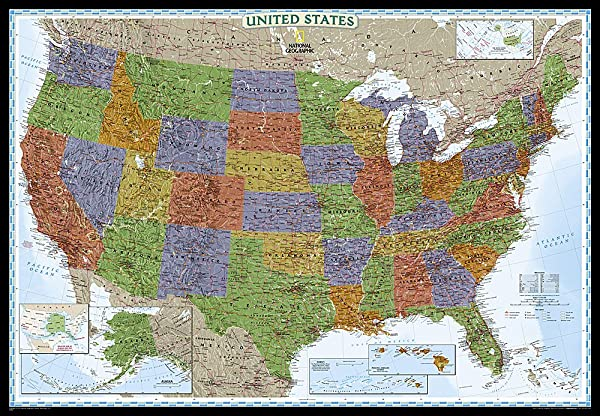 National Geographic United States Decorator Enlarged Wall Map Laminated 69 25 X 48 Inches National Geographic Reference Map