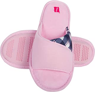 Hanes Womens Open Toe Contrast Plaid Slide Slipper with Memory Foam and Anti-Skid Sole