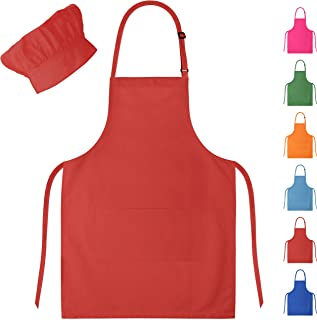 Dapper&Doll Red Kids Chef Hat and Apron for Boys Girls Ages 4-10