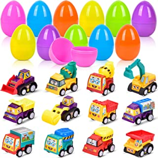 Easter Eggs Toys, 12 Pieces Egg Toys Filled with Pull Back Car Toys for Surprised Eggs, Filling Treats and Kids Party Favors, Prizes